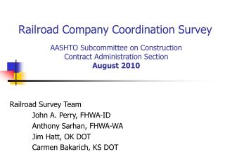 Railroad Company Coordination Survey