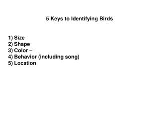 5 Keys to Identifying Birds Size  Shape  Color � Behavior (including song) Location