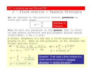 Topic 2.2 Extended J – Fluid statics : Pascals Principle