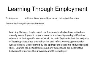 Learning Through Employment