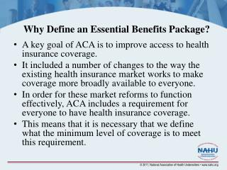 Why Define an Essential Benefits Package?