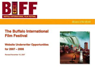 The Buffalo International  Film Festival Website Underwriter Opportunities