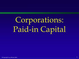 Corporations: Paid-in Capital