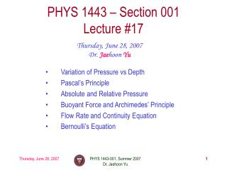 PHYS 1443 – Section 001 Lecture #17