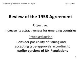 Review of the 1958 Agreement