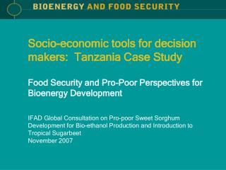 Socio-economic tools for decision makers:  Tanzania Case Study