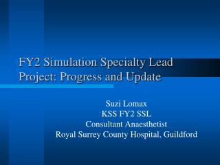 FY2 Simulation Specialty Lead Project: Progress and Update