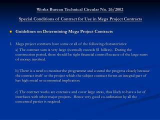 Guidelines on Determining Mega Project Contracts