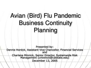 Avian (Bird) Flu Pandemic Business Continuity Planning