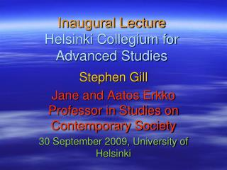 Inaugural Lecture  Helsinki Collegium for Advanced Studies