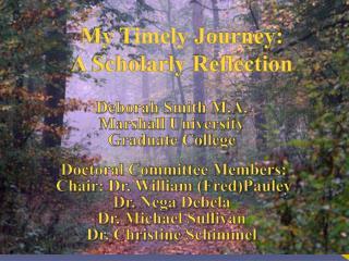 My  Timely  Journey:   A Scholarly Reflection