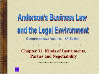 Chapter 31: Kinds of Instruments, Parties and Negotiability
