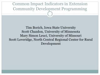 Common Impact Indicators in Extension Community Development Programming