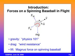 Introduction: Forces on a Spinning Baseball in Flight