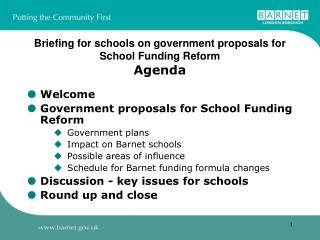 Briefing for schools on government proposals for  School Funding Reform Agenda