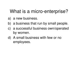 What is a micro-enterprise?