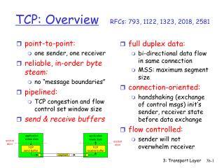 TCP: Overview RFCs: 793, 1122, 1323, 2018, 2581