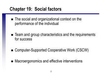 Chapter 19:  Social factors