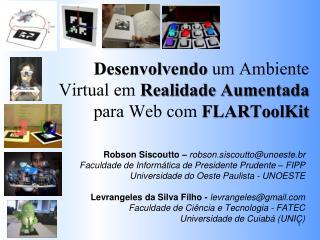 Desenvolvendo um Ambiente Virtual em  Realidade Aumentada para Web com  FLARToolKit