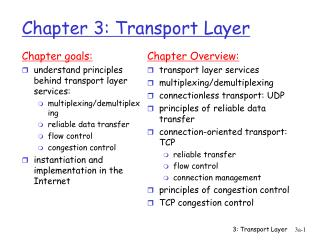 Chapter 3: Transport Layer