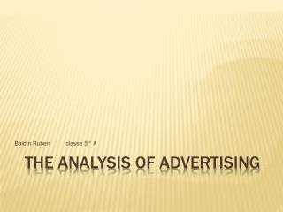 The  analysis of  advertising
