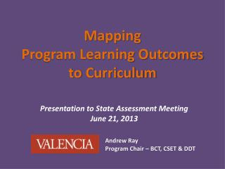 Mapping Program Learning Outcomes to Curriculum