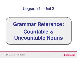 Grammar Reference: Countable & Uncountable Nouns