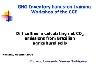 GHG  Inventory hands-on training Workshop of the CGE