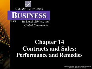 Chapter 14 Contracts and Sales: Performance and Remedies