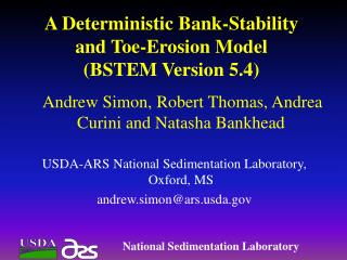 A Deterministic Bank-Stability and Toe-Erosion Model (BSTEM Version 5.4)