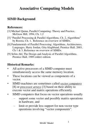 Associative Computing Models