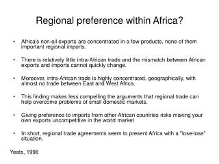 Regional preference within Africa?