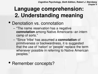 Language comprehension: 2. Understanding meaning