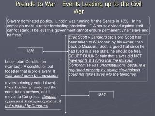Prelude to War – Events Leading up to the Civil War
