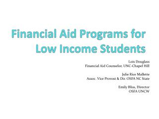 Financial Aid Programs for Low Income Students