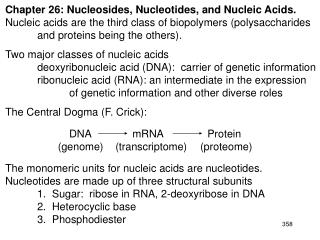 Chapter 26: Nucleosides, Nucleotides, and Nucleic Acids.