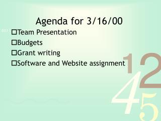 Agenda for 3/16/00