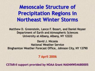 Mesoscale Structure of Precipitation Regions in Northeast Winter Storms