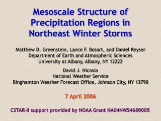Mesoscale Structure of Precipitation Regions in Northeast Winter Storms