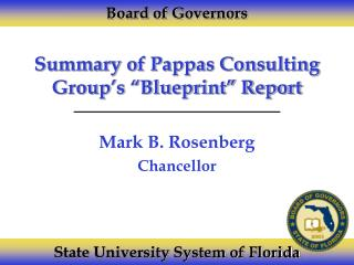 """Summary of Pappas Consulting Group's """"Blueprint"""" Report"""