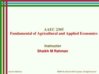 AAEC 2305 Fundamental of Agricultural and Applied Economics
