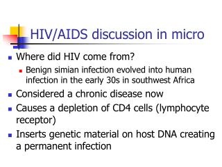 HIV/AIDS discussion in micro