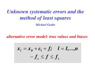 Unknown systematic errors and the method of least squares Michael Grabe