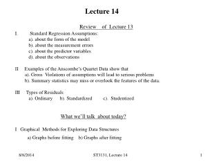 Review    of  Lecture 13 Standard Regression Assumptions: