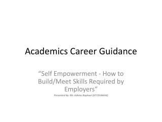 Academics Career Guidance