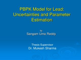 PBPK Model for Lead: Uncertainties and Parameter Estimation