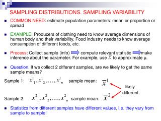 SAMPLING DISTRIBUTIONS. SAMPLING VARIABILITY