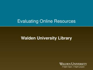 Evaluating Online Resources