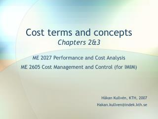 Cost terms and concepts Chapters 2&3