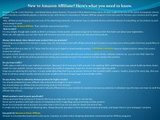 New to Amazon Affiliate? Here�s what you need to know.